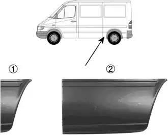 Панель ремонтная боковая средний (1950mm) прав MERCEDES: SPRINTER 95-06