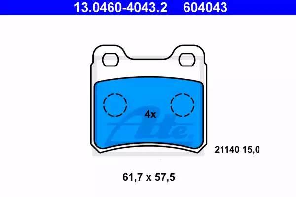 Колодки дисковые, ATE, 13046040432
