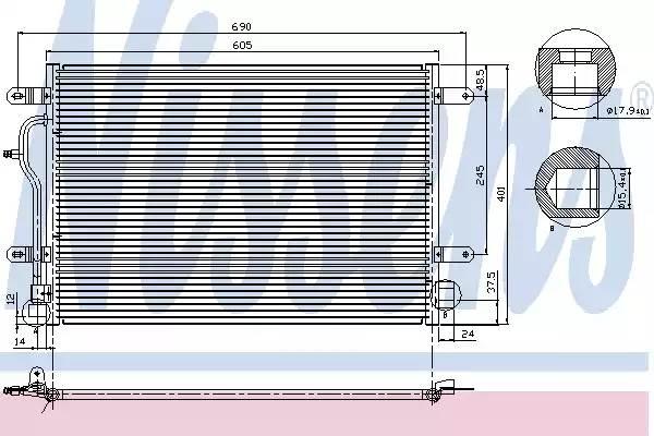 Радиатор кондиционера AUDI A4 (8E2, B6) [2000 - 2004] NISSENS 94665