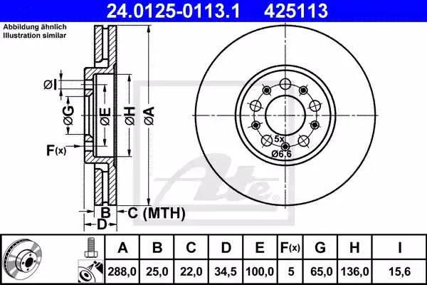 Диск тормозной передний, ATE, 24012501131