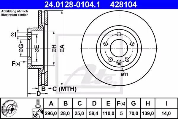 Диск тормозной передний, ATE, 24012801041