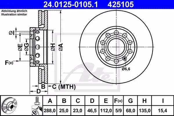 Диск тормозной передний, ATE, 24012501051