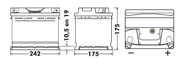 EXIDE 54Ah 520A R+