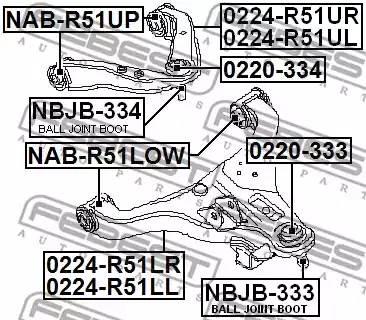 Сайлентблок переднего верхний рычага Pathfinder R51, Navara FEBEST