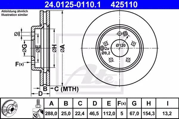 Диск тормозной передний, ATE, 24012501101