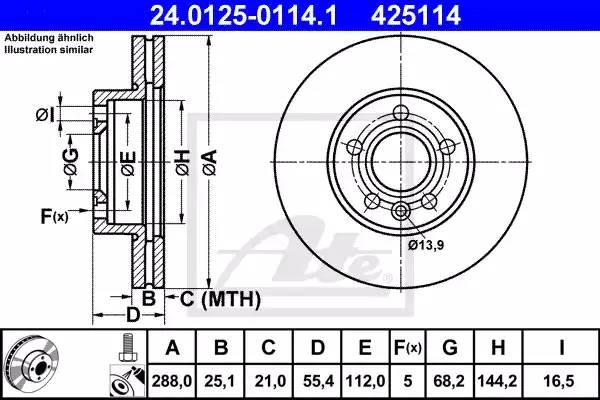 24012501141 ATE Тормозной диск