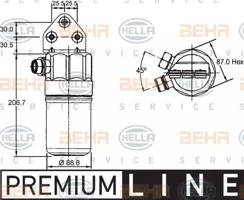 Осушитель кондиционера AUDI A4 (8D2, B5) [2000 - 2000] BEHR HELLA SERVICE 8FT 351 192-381