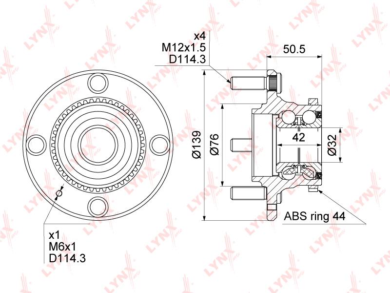 WH1193 LYNX Ступица задняя в сборе с ABS