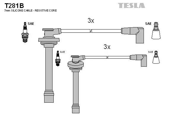 T281B TESLA Комплект проводов зажигания