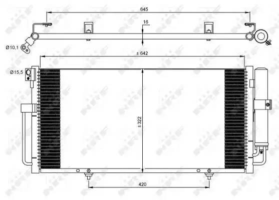 Радиатор кондиционера SUBARU IMPREZA седан (GD, GG) [2000 - ] NRF 35875