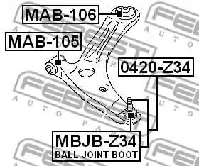Сайлентблок рычага задний MITSUBISHI LANCER CS/CY MAB-106