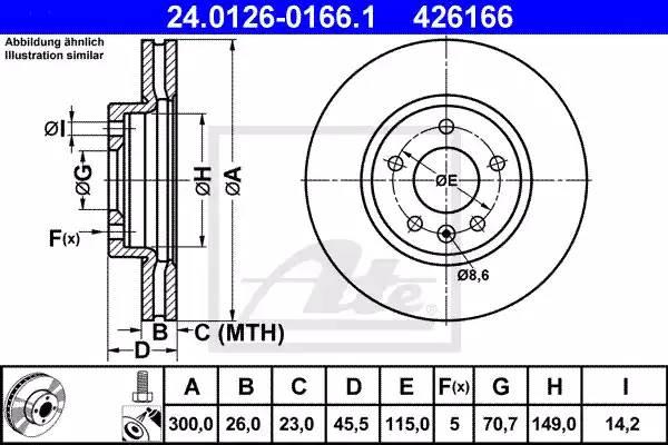 Диск тормозной передний, ATE, 24012601661