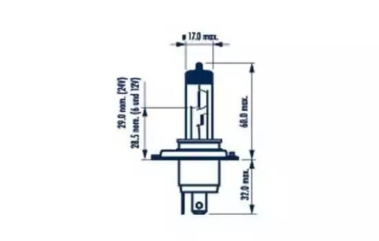 Лампа H4 12V 60/55 W P43t Long Life