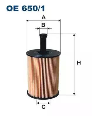 OE 650/1 фильтр масляный Skoda Fabia 1.9TDi 07>, Seat Toledo 2.3 V5 01-06, VW