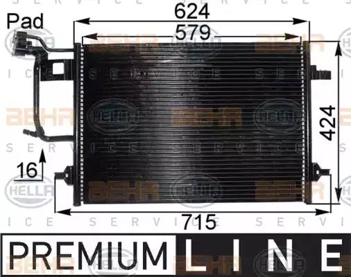 Радиатор кондиционера AUDI A4 (8D2, B5) [2000 - 2000] BEHR HELLA SERVICE 8FC 351 038-431