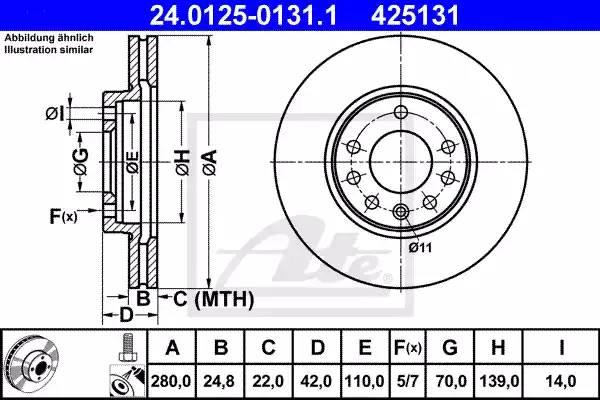 Диск тормозной передний, ATE, 24012501311