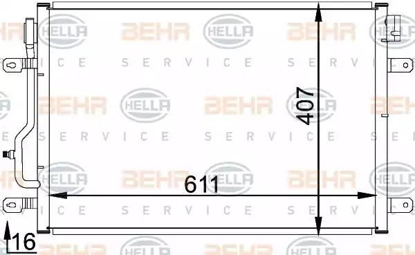 Радиатор кондиционера AUDI A4 (8E2, B6) [2000 - 2002] BEHR HELLA SERVICE 8FC 351 300-241
