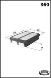 Фильтр воздушный, MECAFILTER, ELP9264