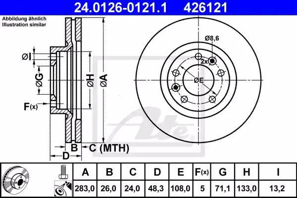 Диск тормозной передний, ATE, 24012601211