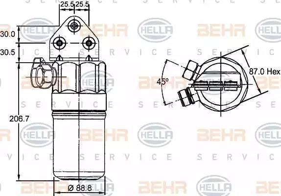 Осушитель кондиционера AUDI A6 (4B, C5) [2000 - 2005] BEHR HELLA SERVICE 8FT 351 197-321
