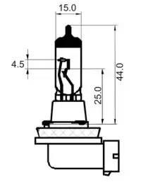 Лампа галоген' H11' 12В 55Вт, 1шт