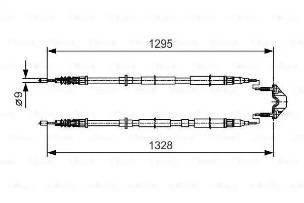 1 987 477 908 трос ручника задний L 1295 Opel Astra H,Vauxhall Astra Mk V (H)