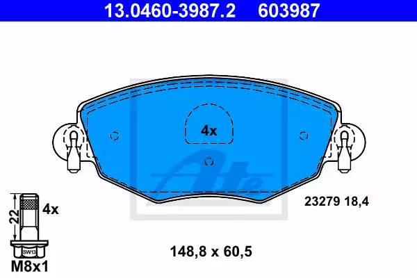 Колодки дисковые, ATE, 13046039872