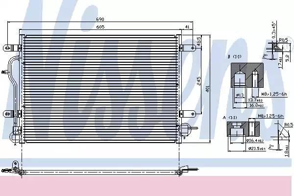 Радиатор кондиционера AUDI A4 (8E2, B6) [2000 - 2002] NISSENS 94583