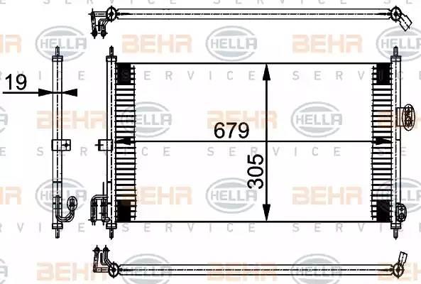 Радиатор кондиционера NISSAN ALMERA Mk II (N16) [2000 - ] BEHR HELLA SERVICE 8FC 351 038-581