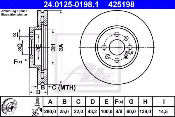 Диск тормозной передний, ATE, 24012501981