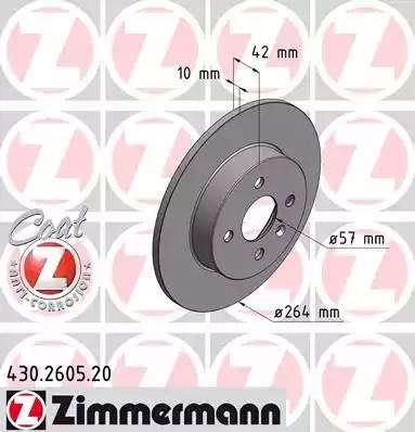 430260520 ZIMMERMANN Тормозной диск