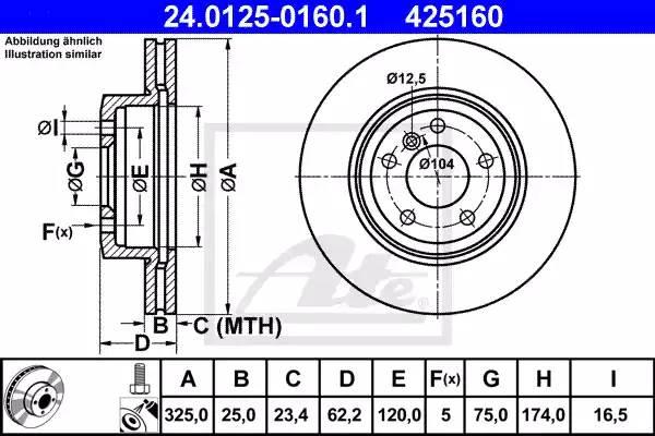 Диск тормозной передний, ATE, 24012501601