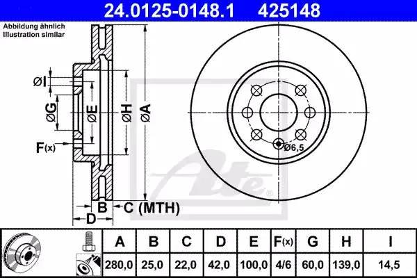Диск тормозной передний, ATE, 24012501481