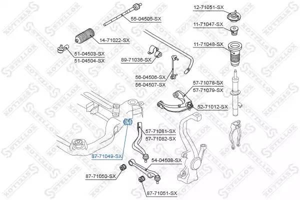 87-71049-SX сайлентблок нижн. рычага зад. Mazda 6 GG/GY all 02