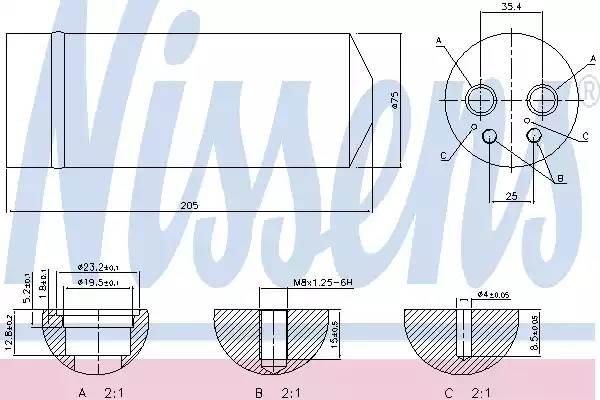 Осушитель кондиционера AUDI A4 (8E2, B6) [2000 - 2002] NISSENS 95314