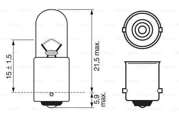 Лампа накаливания BOSCH 12v4w T4W