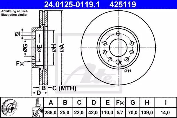Диск тормозной передний, ATE, 24012501191