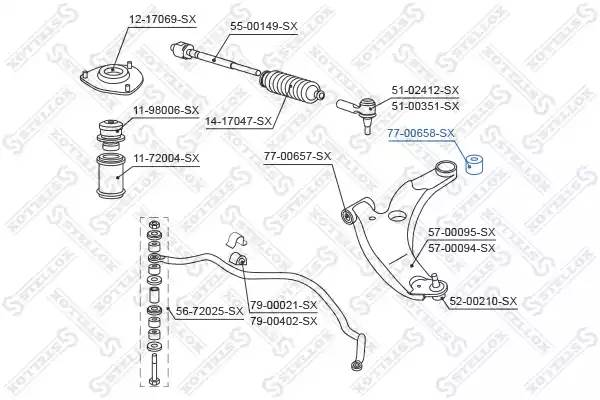 77-00658-SX сайлентблок перед.рычага зад. Mitsubishi Lancer 1.6-2.0 03 7700658sx
