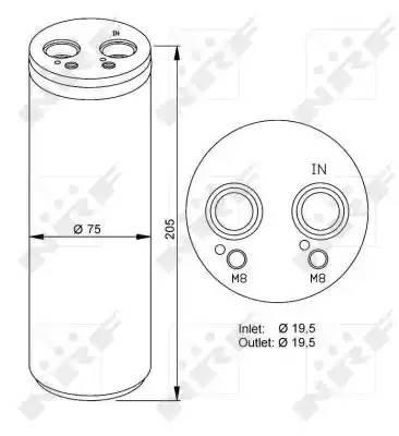 Осушитель кондиционера AUDI A4 (8E2, B6) [2000 - 2002] NRF 33204