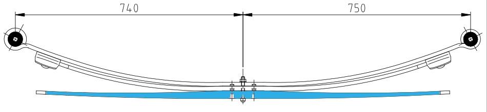 Верxний лист с с/б(коренной) от 3х листовой рессоры 4,6t Sprinter 904-905-909 RUS