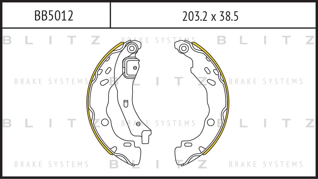 BB5012 BLITZ Колодки торм. барабанные