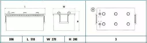 Батарея аккумуляторная, 12В 215А/ч