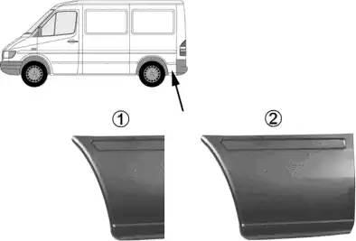 Панель ремонтная задн нижний угол средний (1950) прав MERCEDES SPRINTER, Volkswagen LT
