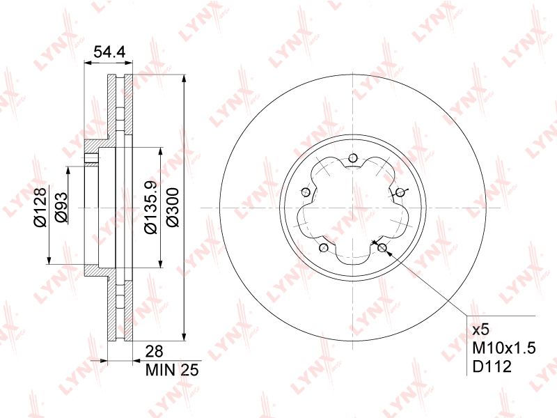 BN1028 LYNX Диск тормозной передний (300x28)