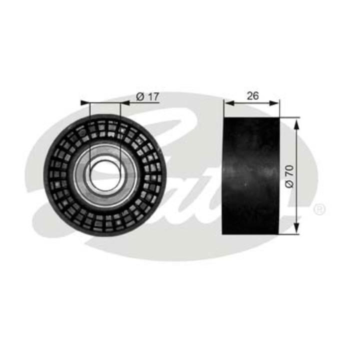 ролик направляющий приводного ремня 26*70 = натяжной COROLLA 120=GRAND VITARA 2.4 натяжной, на обводном перепрессовать втулку, Focus1 USA 2.0 16кл
