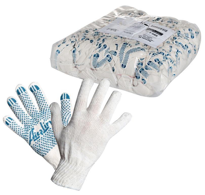 Перчатки ХБ с ПВХ покрытием, белые, (1 пара), 42гр., 150Т/7,5 класс (AWG-C-02)