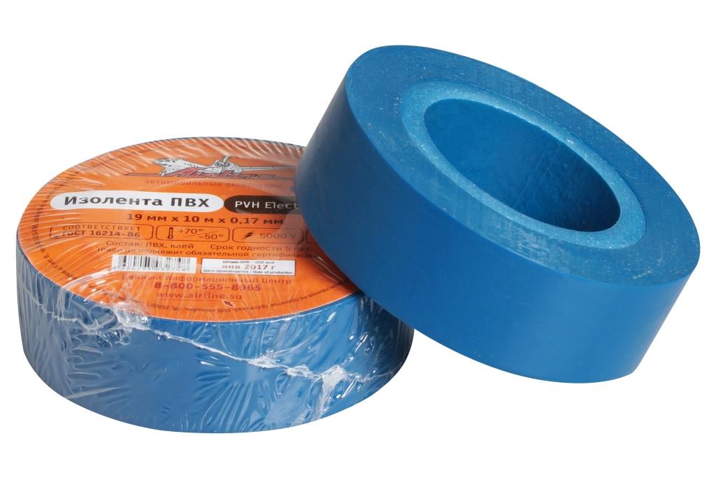 Изолента ПВХ, синяя, 19 мм*10 м (AIT-P-13)