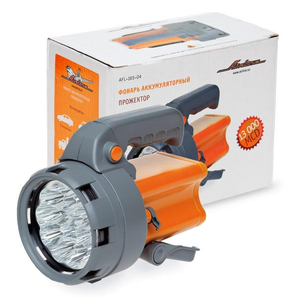 Фонарь аккум. прожектор LEDx16 с батареей 4В 2,4Ач (AFL-16S-04)
