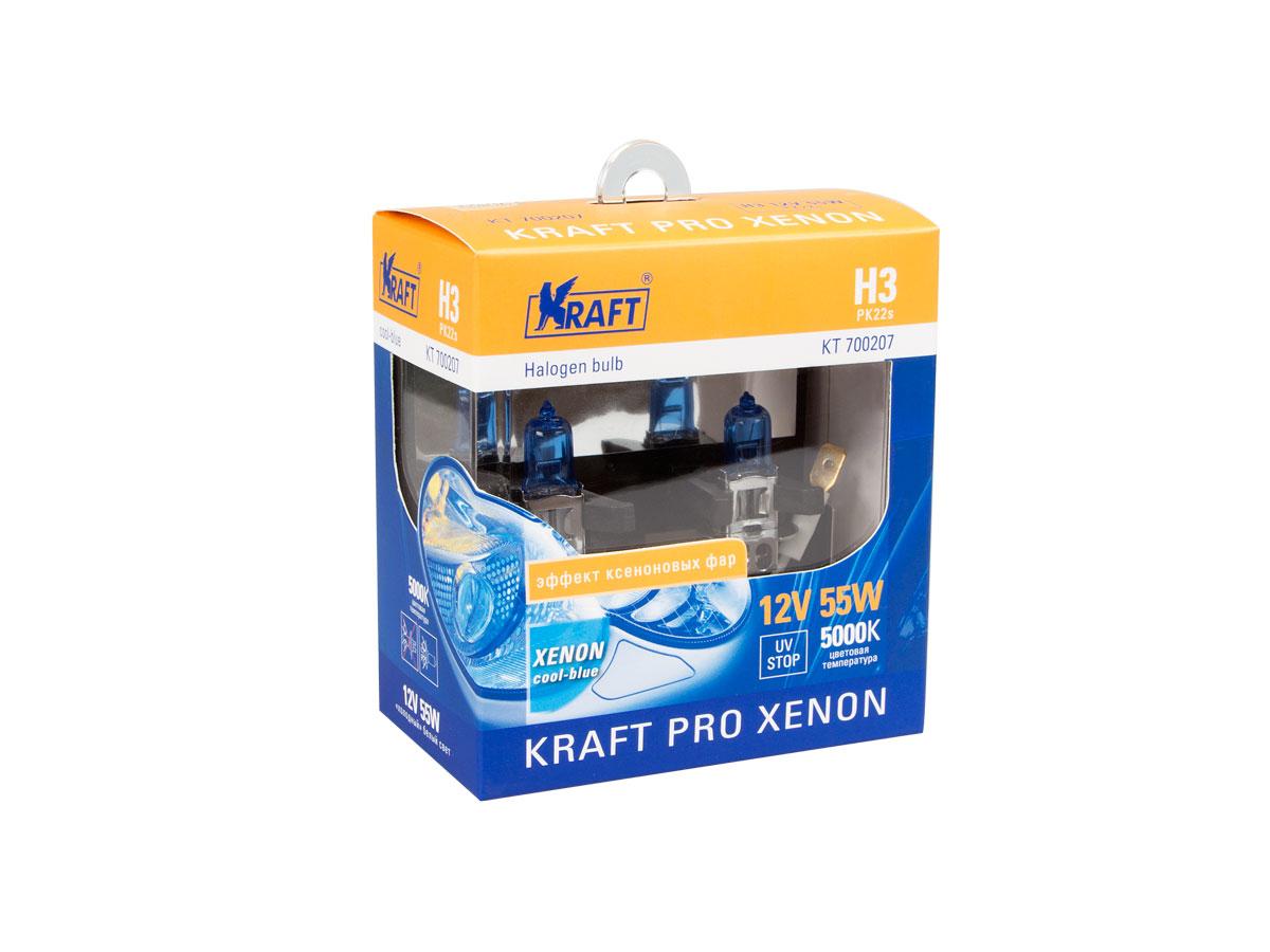 Автолампа h3 12v 55w (pk22s) kraft pro xenon (2шт. блистер)new!