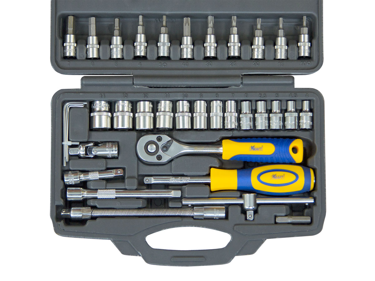 """Набор инструмента 1/4\""""Dr 46 предметов (пластиковый кейс+блистер) KT700618"""